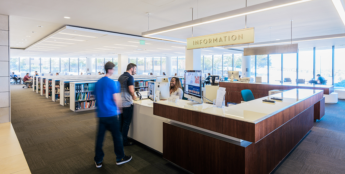 Image of the Information Desk at the William H. Hannon Library.